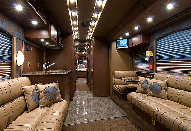 Motorcoach front lounge