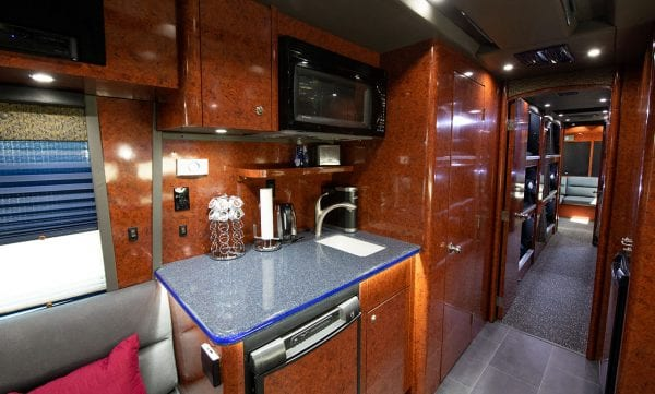 Galaxy tour bus kitchen