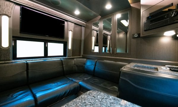 Entertainer tour bus rear lounge